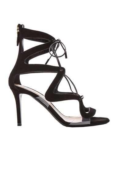 Suede Double S Laceup Heels
