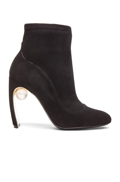 105mm Maeva Suede Pearl Ankle Booties