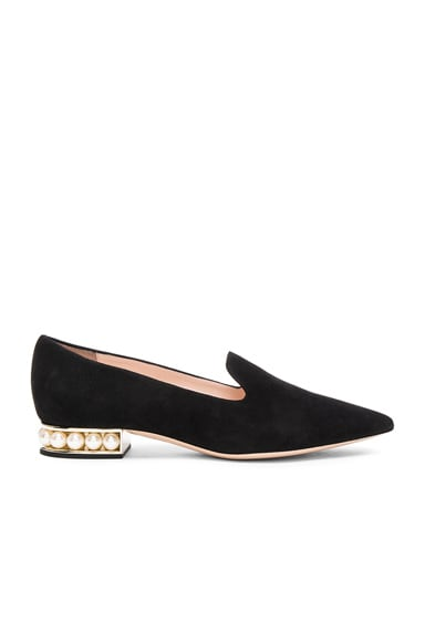 Suede Casati Pearl Loafers in Black