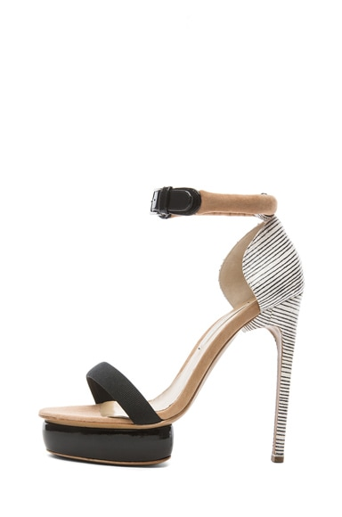 Elaphe Snakeskin Leather Stacked Heels