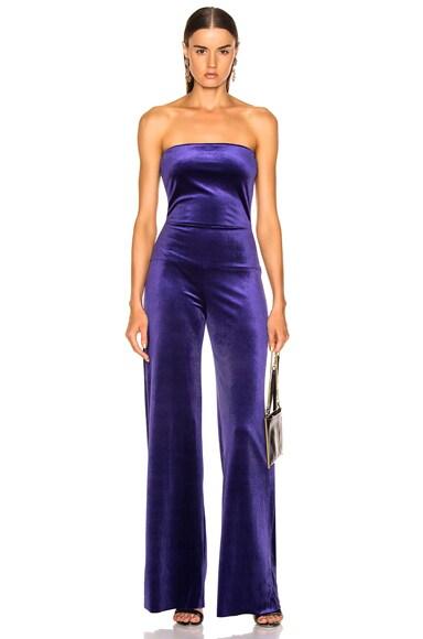 for FWRD Strapless Velvet Jumpsuit