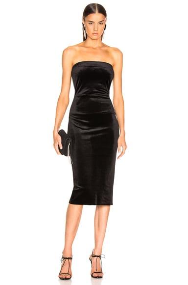 for FWRD Strapless Velvet Dress