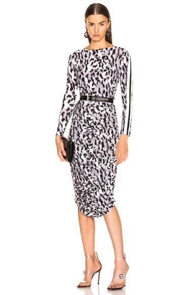 Side Stripe Long Sleeve Shirred Dress