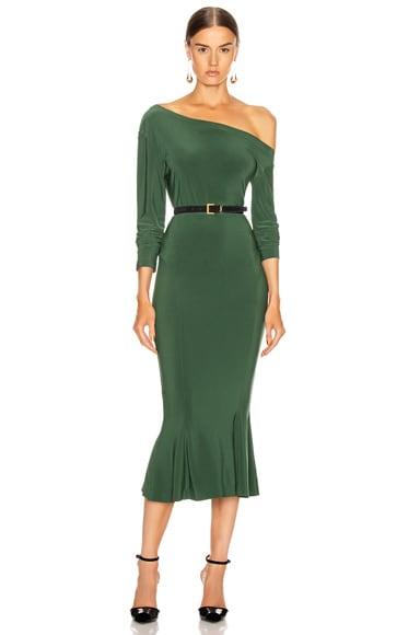 Long Sleeve Drop Shoulder Fishtail Dress