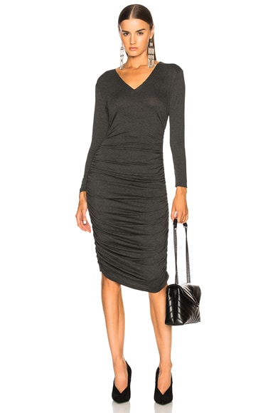 V Neck Shirred Dress