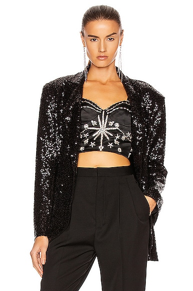 Overlapping Sequin Single Breasted Jacket
