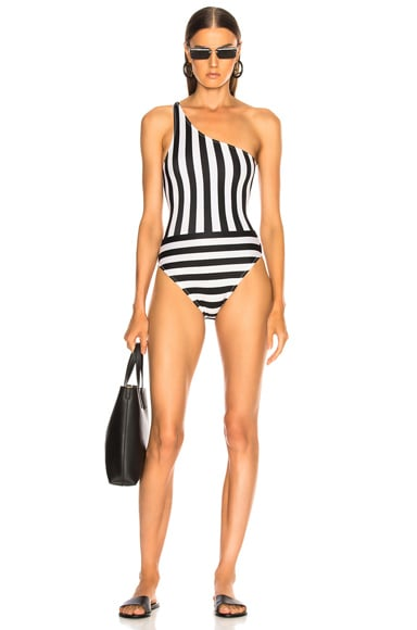 Spliced One Shoulder Mio Swimsuit