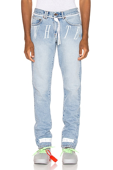 "Off-White Slim Fit Bleached Jeans With ""White"" Print In Bleach Nikel"