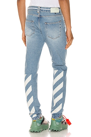 Diagonal Stripe Slim Jeans