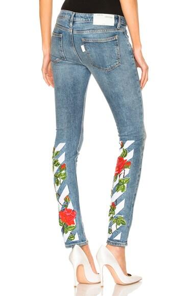 Diagonal Roses Skinny 5 Pocket Jeans