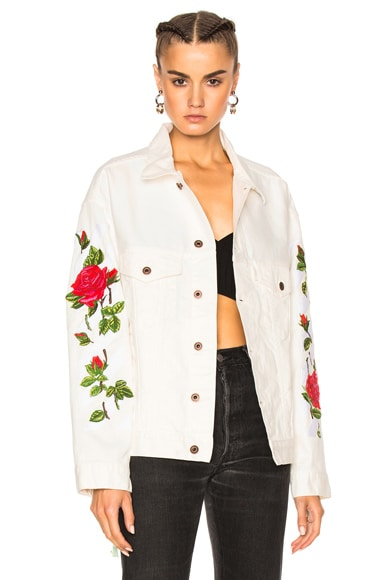 Diagonal Roses Denim Jacket