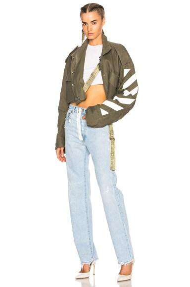 Diagonal Cropped M65 Military Jacket