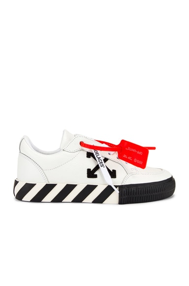 Off-White Black & White Women's Low Top Vulcanized Trainers In White Black