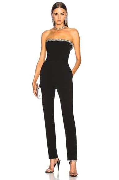 Crystal Trim Strapless Jumpsuit