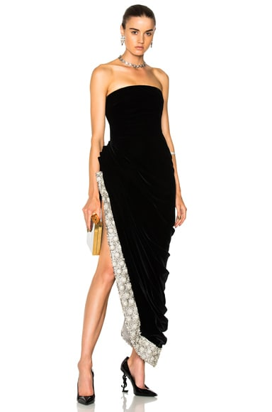 Crystal Embellished Strapless Gown