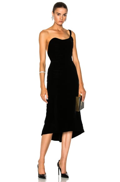 Velvet One Shoulder Cocktail Dress