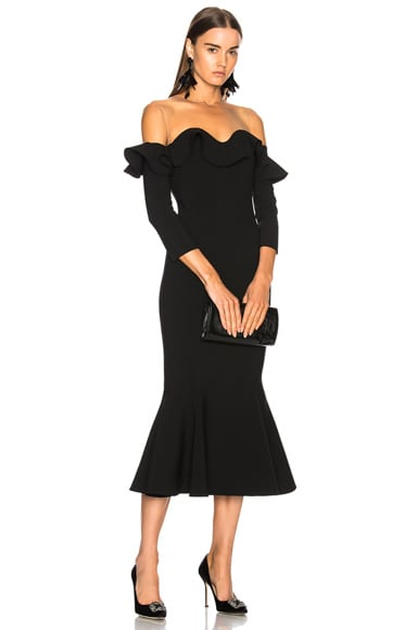 Ruffled Off Shoulder Cocktail Midi Dress