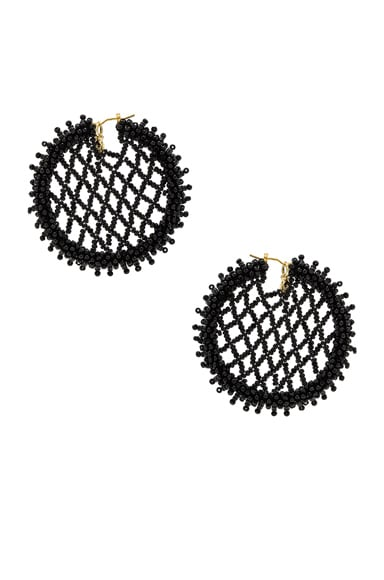Beaded Lattice Disc Earring