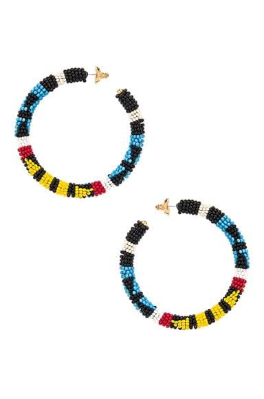 Pattern Beaded Hoop Earrings