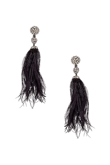 Long Beaded Feather Earrings