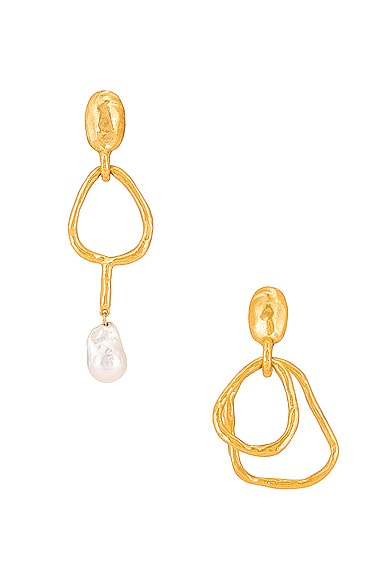 Hammered Ring & Pearl Earrings
