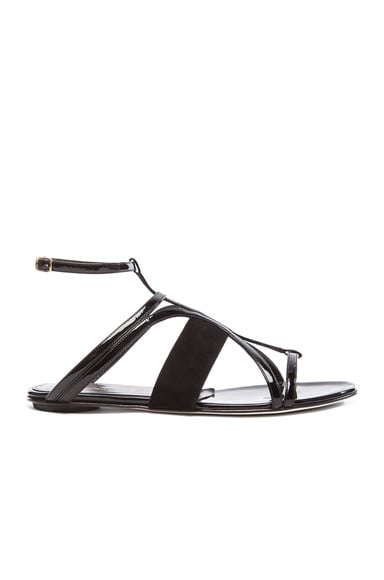 Lexina Patent Leather & Suede Sandals