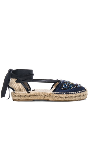 Adriana Crystal Embroidery Espadrilles