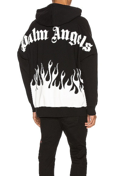 Palm Angels Tops PALM ANGELS BURNING LOGO HOODIE IN BLACK