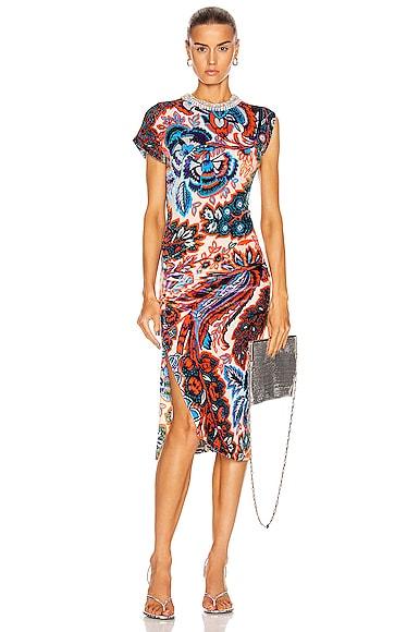 Ruched Velvet Floral Dress