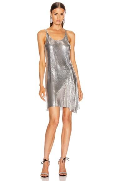 PACO RABANNE Mesh Tank Mini Dress in Silver | FWRD