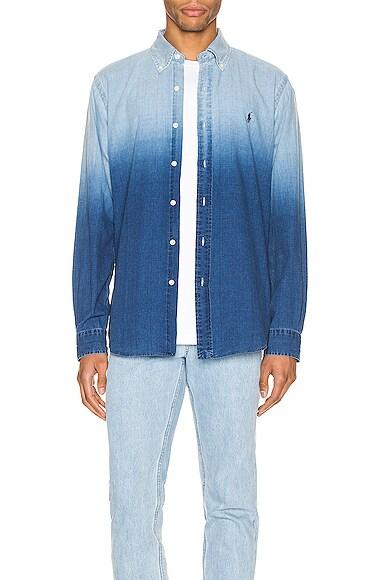 Indigo Solid Button Down Shirt