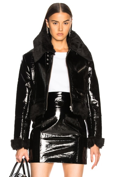 Patent Leather & Faux Fur Jacket