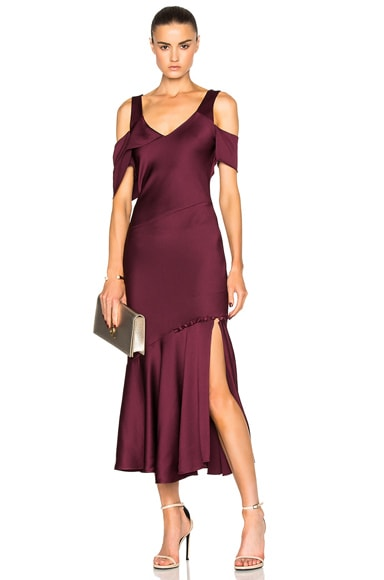 Hammered Satin Draped Shoulder Dress