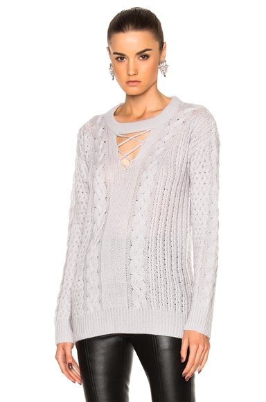 Cashmere Silk Knit V-Neck Fisherman Pullover