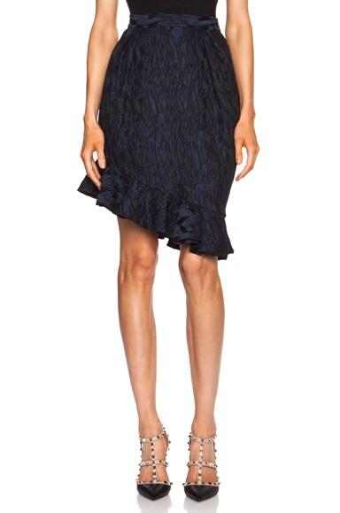 Asymmetrical Ruffle Tulip Acetate-Blend Skirt