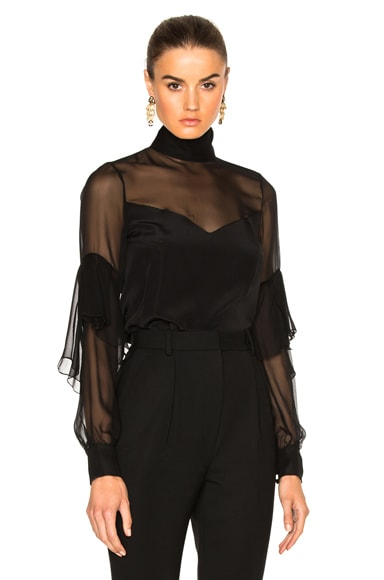 Crepe De Chine Mock Neck Layered Sleeve Blouse