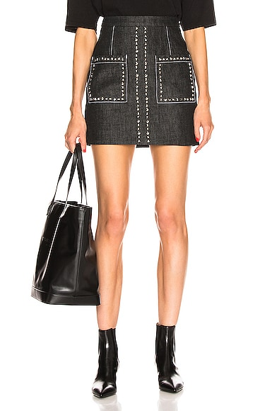Stud Embroidery Mini Skirt