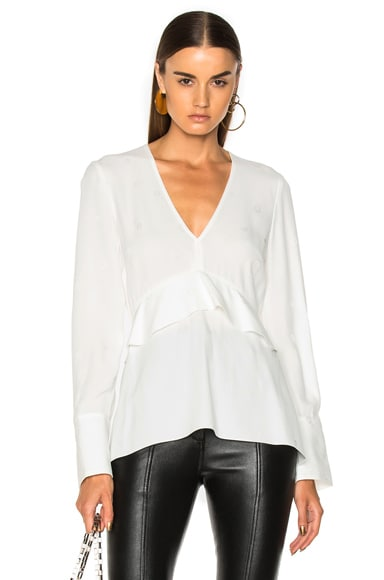 Satin Back Crepe Jacquard Long Sleeve V-Neck Top