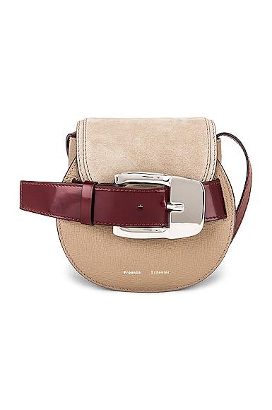 Mini Leather & Suede Buckle Crossbody Bag