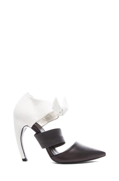 Pointed Tie Around Leather Heels