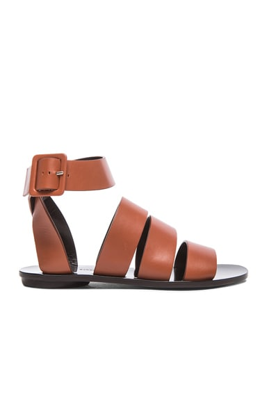 Multi Strap Leather Flat Sandals
