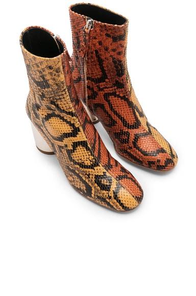 Bicolor Python Print Ankle Boots