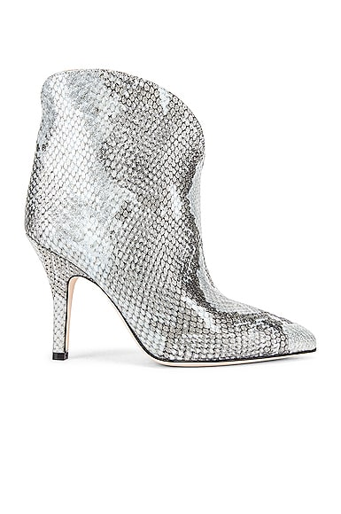 Python Lame Print Rounded Print Stiletto Ankle Boot