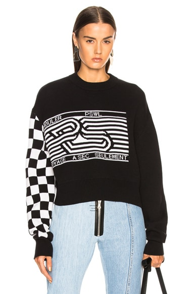 Checkerboard Jacquard Crewneck Sweater
