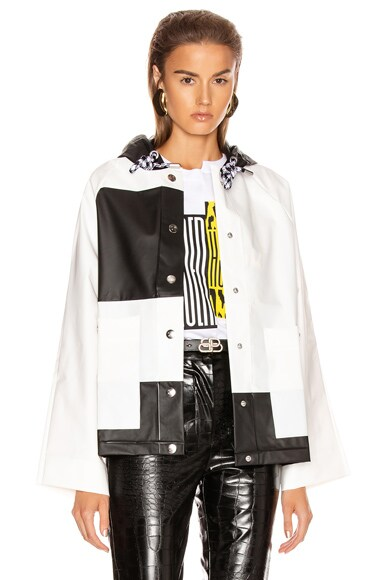Colorblock Short Raincoat