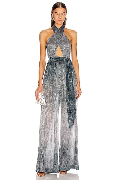 Ombre Lurex Cross Front Jumpsuit
