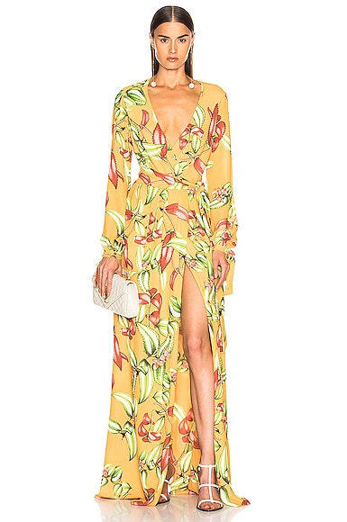 a07ec558e27d Zebrina Print Beaded Maxi Wrap Dress ...