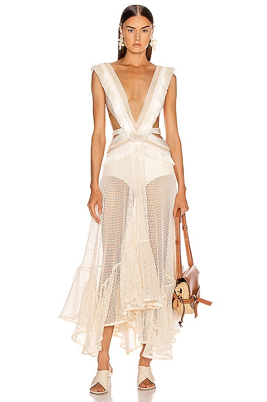 6832bebe0f2 Fringe and Mesh Cutout Maxi Dress ...
