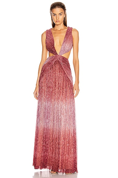 Ombre Lurex Sleeveless Cutout Gown