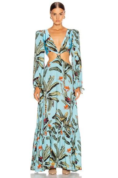 Tropical Print Cutout Maxi Dress